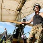 Guests of the farm tourism estate Bogomazov Dvor, Petrikov District are offered a tour on a hang glider
